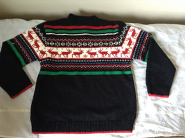 Cute Winter Sweater by Plaid Moose Striped with Moose Reindeer Size Small 8 image 7