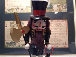 Cute Vintage Nutcracker Soldier Holding Axe and Lantern image 3