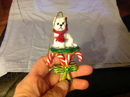 Cute Westie Westminster White  Terrier on Candy Canes Ornament image 2