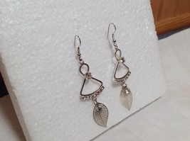 Dangling White Stone and Leaf Silver Earrings Very Beautiful Delicate Design image 2