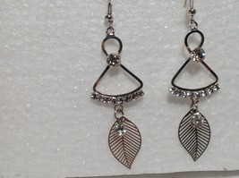 Dangling White Stone and Leaf Silver Earrings Very Beautiful Delicate Design image 3