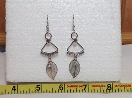 Dangling White Stone and Leaf Silver Earrings Very Beautiful Delicate Design image 6