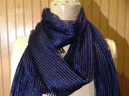 Dark Blue Metallic Shine Tasseled Fashion Scarf Sheer Light Weight Material image 3