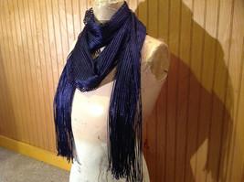Dark Blue Metallic Shine Tasseled Fashion Scarf Sheer Light Weight Material image 2