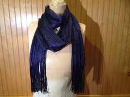 Dark Blue Metallic Shine Tasseled Fashion Scarf Sheer Light Weight Material image 7