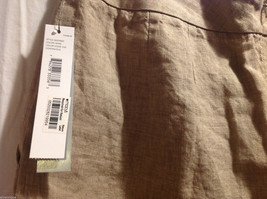 DKNY C Knee Length Summer Linen Sand Beige Skirt Front Pockets, Size 8 with Tags image 3