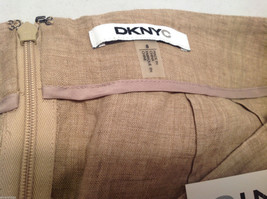 DKNY C Knee Length Summer Linen Sand Beige Skirt Front Pockets, Size 8 with Tags image 4