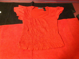 DKNY short sleeve red blouse image 3