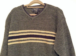 Dark Gray Sweater with Stripes American Eagle Outfitters Woven Size Large image 2
