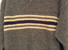 Dark Gray Sweater with Stripes American Eagle Outfitters Woven Size Large image 4