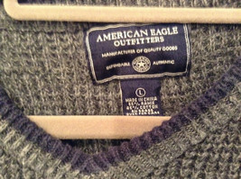 Dark Gray Sweater with Stripes American Eagle Outfitters Woven Size Large image 5