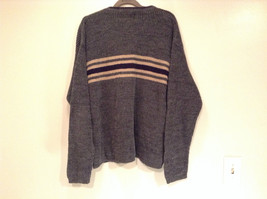 Dark Gray Sweater with Stripes American Eagle Outfitters Woven Size Large image 6