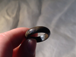 Dark Gray and Black Speckled Agate Natural Stone Ring Size 6.75 image 4