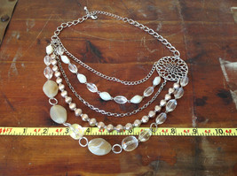 Daisy Fuentes Multi Strand Silver Tone Stones Beads Necklace Adjustable image 8