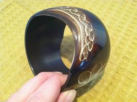 Decorative Dark Brown Bracelet with Carved Floral Designs image 4