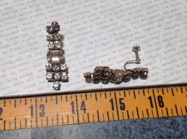 Dangling Vintage Style White Stone Screw Back Earrings Screw Tightening Backing image 6