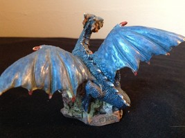 Dark Blue Dragon Statue Holding Red Ball 98 WUI image 4