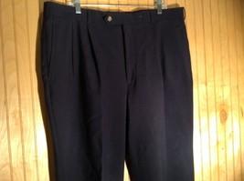Dark Blue Pleated Dress Pants Size 40 Cordovan and Grey 100 Percent Virgin Wool image 2