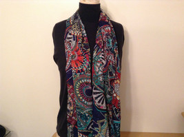 Dark Blue Dark Green Red Circle Pattern Scarf 100 Percent Polyester NEW image 2