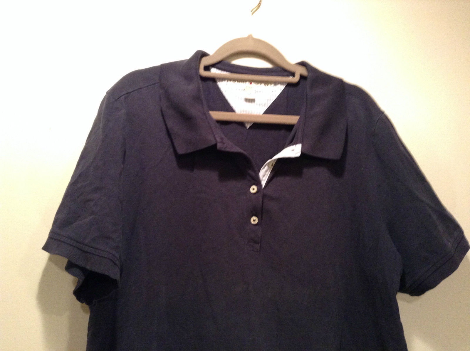Dark Blue Short Sleeve Cotton Blend Tommy Hilfiger Polo Shirt Size 2X