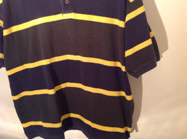 Dark Blue with Yellow Stripes Bert Pulitzer Short Sleeve Casual Shirt Size XL image 4