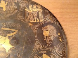 Decorative Wall Metal Plate from Egypt Brown Gold Tone Metal Copper image 7