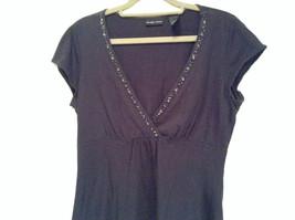 Deep V Black Short Sleeve New York and Company Top Size Medium Cotton Blend image 2