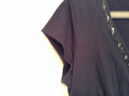 Deep V Black Short Sleeve New York and Company Top Size Medium Cotton Blend image 6
