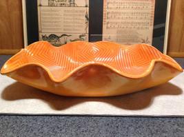Decorative Orange Handmade Large Serving Tray Geometric Designs Inside Wavy Edge image 3