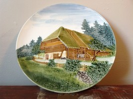 Decorative Rustic Painted House on Edge of Pine Forest Plate Made in Germany image 2