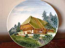 Decorative Rustic Painted House on Edge of Pine Forest Plate Made in Germany image 3