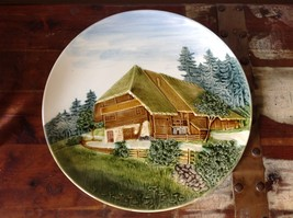 Decorative Rustic Painted House on Edge of Pine Forest Plate Made in Germany image 6