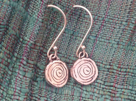 Delicate Hammered Sterling Silver Coil Earrings image 2