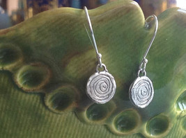 Delicate Hammered Sterling Silver Coil Earrings image 4