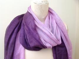Deep purple watercolor scarf material has a shine to it length 68 inches image 3