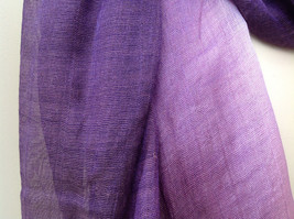 Deep purple watercolor scarf material has a shine to it length 68 inches image 4