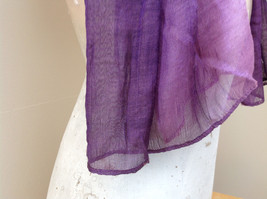 Deep purple watercolor scarf material has a shine to it length 68 inches image 5
