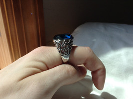 Deep Blue CZ Stone Swirl Design Stainless Stain Ring Size 9.5 image 5