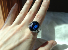 Deep Blue CZ Stone Swirl Design Stainless Stain Ring Size 9.5 image 4
