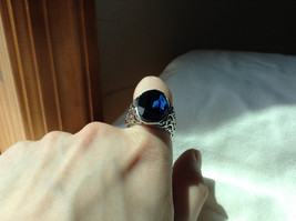 Deep Blue CZ Stone Swirl Design Stainless Stain Ring Size 9.5 image 6