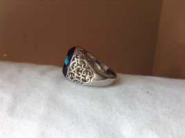Deep Blue CZ Stone Swirl Design Stainless Stain Ring Size 9.5 image 2