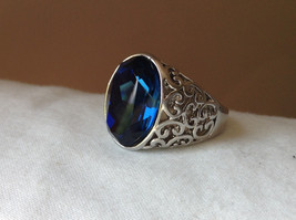 Deep Blue CZ Stone Swirl Design Stainless Stain Ring Size 9.5 image 8