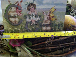 Decorative wooden box sign w vintage Easter Greetings picture basket stuffer image 8