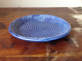 Deep Blue Ceramic Plate Saucer Interesting Relief Pattern Handcrafted Artisan image 3