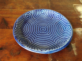 Deep Blue Ceramic Plate Saucer Interesting Relief Pattern Handcrafted Artisan image 2