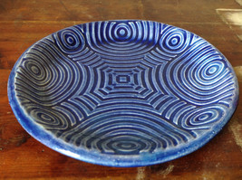 Deep Blue Ceramic Plate Saucer Interesting Relief Pattern Handcrafted Artisan image 4