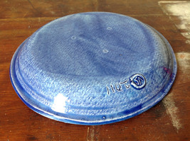 Deep Blue Ceramic Plate Saucer Interesting Relief Pattern Handcrafted Artisan image 5