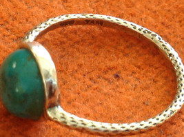 Delicate Feminine Turquoise Cabochon Sterling Silver Ring Size Choice 7 or 8 image 3