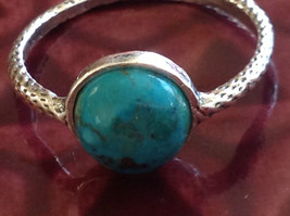 Delicate Feminine Turquoise Cabochon Sterling Silver Ring Size Choice 7 or 8 image 2