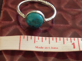 Delicate Feminine Turquoise Cabochon Sterling Silver Ring Size Choice 7 or 8 image 5
